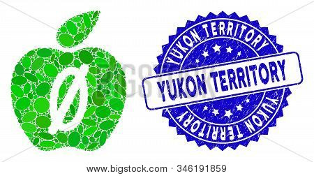 Collage Zero Calories Apple Icon And Rubber Stamp Seal With Yukon Territory Caption. Mosaic Vector I