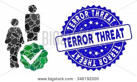 Mosaic For People Only Icon And Grunge Stamp Seal With Terror Threat Phrase. Mosaic Vector Is Formed