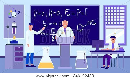 Scientific Lecture In Physical Chemical Laboratory Vector Illustration. Professor Teaches Students S