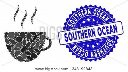 Mosaic Coffee Cup Icon And Corroded Stamp Seal With Southern Ocean Text. Mosaic Vector Is Formed Fro