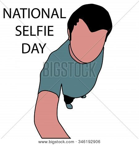 Man Makes Photo For National Selfie Day. Isolated Stock Cartoon  Illustration