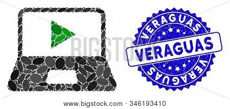Mosaic Webcast Laptop Icon And Grunge Stamp Seal With Veraguas Caption. Mosaic Vector Is Composed Fr