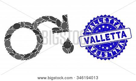 Mosaic Venereal Disease Impotence Icon And Rubber Stamp Watermark With Valletta Phrase. Mosaic Vecto
