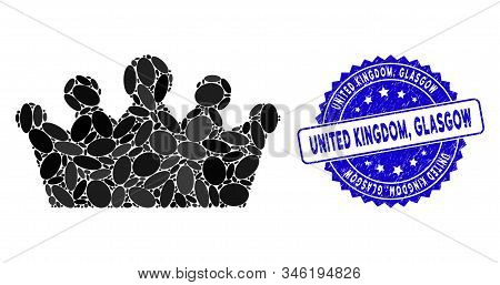 Mosaic Crown Icon And Distressed Stamp Seal With United Kingdom, Glasgow Caption. Mosaic Vector Is C