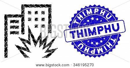 Mosaic House Terror Icon And Grunge Stamp Seal With Thimphu Caption. Mosaic Vector Is Created With H