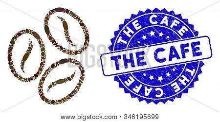 Mosaic Cacao Beans Icon And Rubber Stamp Seal With The Cafe Caption. Mosaic Vector Is Formed With Ca