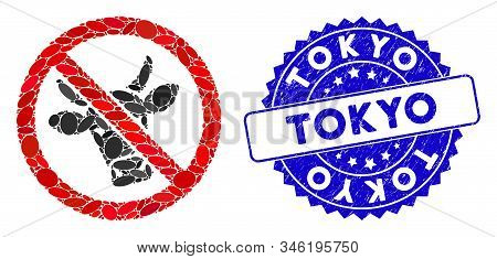 Mosaic No Beef Icon And Rubber Stamp Seal With Tokyo Caption. Mosaic Vector Is Designed With No Beef