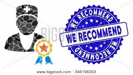 Collage Recommended By Doctors Icon And Grunge Stamp Seal With We Recommend Phrase. Mosaic Vector Is