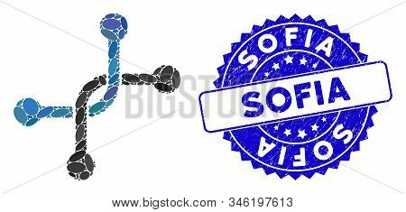 Mosaic Bypass Connection Icon And Grunge Stamp Seal With Sofia Text. Mosaic Vector Is Designed From