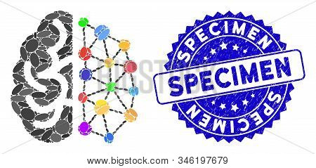 Mosaic Creative Brain Icon And Distressed Stamp Watermark With Specimen Caption. Mosaic Vector Is Fo