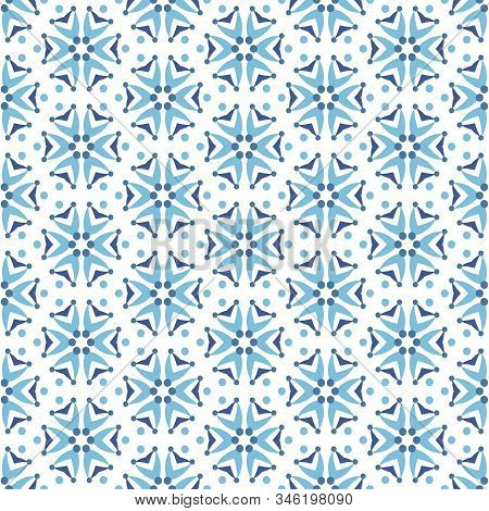 Cornflower Floral Pattern. Pattern With Abstract Ditsy Flowers In Blue Blue Colors. Seamless Vector