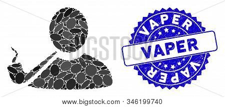 Mosaic Pipe Smoker Icon And Corroded Stamp Seal With Vaper Text. Mosaic Vector Is Created With Pipe