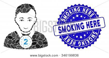 Mosaic 2nd Prizer Sportsman Icon And Corroded Stamp Seal With Smoking Here Phrase. Mosaic Vector Is
