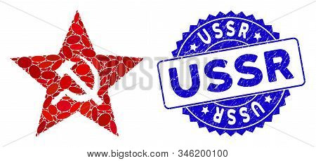 Mosaic Communism Star Icon And Distressed Stamp Seal With Ussr Caption. Mosaic Vector Is Designed Wi