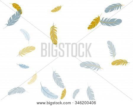 Tender Silver Gold Feathers Vector Background. Easy Plumelet Ethnic Indian Graphics. Fluffy Twirled