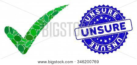 Mosaic The Truth Icon And Distressed Stamp Seal With Unsure Phrase. Mosaic Vector Is Designed With T