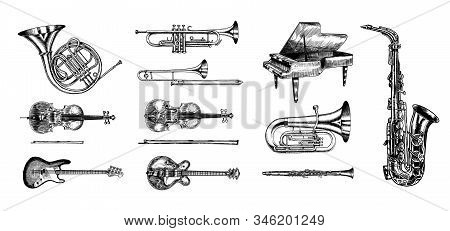 Jazz Classical Wind Instruments Set. Musical Trombone Trumpet Flute Bass Guitar Semi-acoustic French