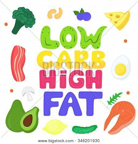 Low Carb, High Fat Hand Drawn Lettering. Keto Poster With Healthy Food. Ketogenic Diet Concept. Salm