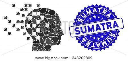 Mosaic Digital Mind Icon And Distressed Stamp Seal With Sumatra Phrase. Mosaic Vector Is Formed With