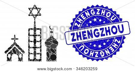 Mosaic Zion City Icon And Grunge Stamp Seal With Zhengzhou Text. Mosaic Vector Is Composed With Zion