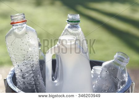 Plastic Recycling, Plastic Bottles And Containers From Household Waste To Recycle And Re Use