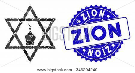 Mosaic Zion Icon And Distressed Stamp Seal With Zion Phrase. Mosaic Vector Is Composed With Zion Ico
