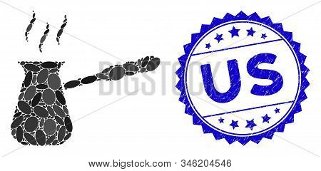 Mosaic Turkish Coffee Icon And Corroded Stamp Seal With Us Phrase. Mosaic Vector Is Designed From Tu