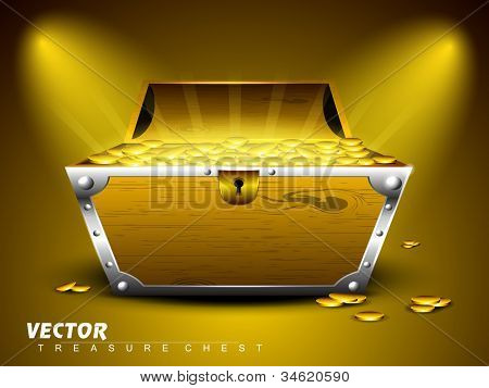 Treasure chest with full of coins on shiny abstract background. EPS 10. poster