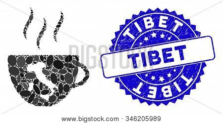 Mosaic Italian Coffee Cup Icon And Rubber Stamp Seal With Tibet Text. Mosaic Vector Is Composed With