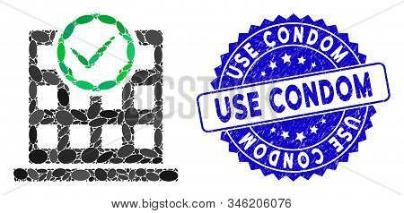 Collage Office Use Only Icon And Distressed Stamp Seal With Use Condom Text. Mosaic Vector Is Design