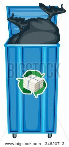 illustration of blue dustbin on a white background