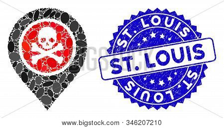 Mosaic Dangerous Zone Pointer Icon And Corroded Stamp Seal With St. Louis Text. Mosaic Vector Is Cre