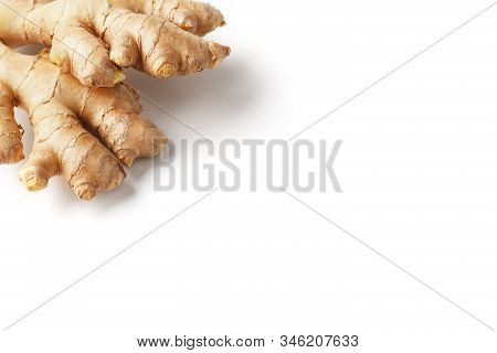 Fresh Ginger Root On A White Background, Isolate. Ginger Pharmacy.