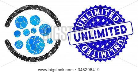 Mosaic Full Icon And Rubber Stamp Seal With Unlimited Phrase. Mosaic Vector Is Created From Full Ico