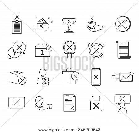 Reject Line Icons. Decline, Cancel And Dislike. Disapprove Linear Icon Set. Quality Line Set. Contai