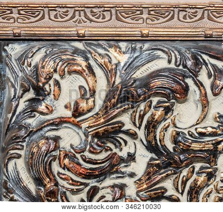 Detail Of Ornamental Picture Frame, Bronze Color.