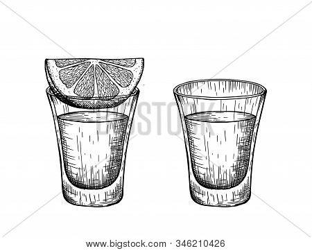 A Shot Of Tequila And A Slice Of Lemon. Vintage Vector Engraving Illustration.