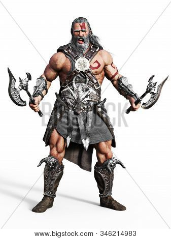 Fierce Armored Barbarian Warrior Ready For Battle On An Isolated White Background. 3d Rendering Illu