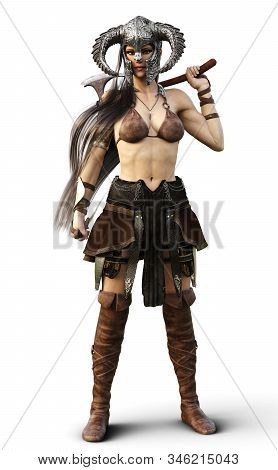 Beautiful And Deadly Fantasy Warrior Female Wearing A Traditional Barbarian Style Costume Isolated O