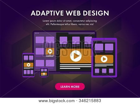 Adaptive And Scalable Responsive Web Design For Website. Modern Flat Concept Illustration With Lapto