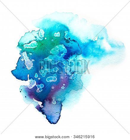 Bright Colorful Vibrant Hand Painted Isolated Watercolor Spot Splash On White Background In Blue, Cy