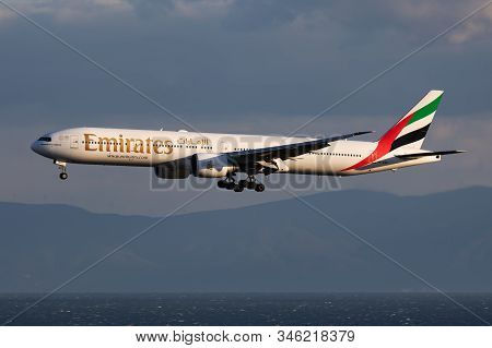 Istanbul / Turkey - March 29, 2019: Emirates Boeing 777-300er A6-ena Passenger Plane Arrival And Lan