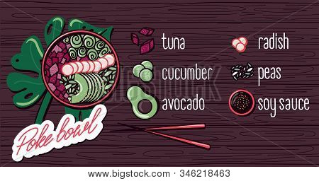 Vector Menu Of Fish And Seafood Poke Bowl On Wooden Background. Illustrations Of A Lunch Of Hawaiian