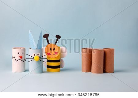 Paper Toy Rabbit, Chicken Egg For Happy Esater Party. Easy Crafts For Kids On Blue Background, Copy