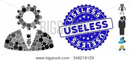 Mosaic Soulless Official Bureaucrat Icon And Rubber Stamp Seal With Useless Caption. Mosaic Vector I