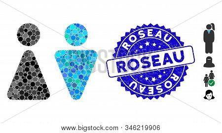 Mosaic Wc Persons Icon And Grunge Stamp Seal With Roseau Text. Mosaic Vector Is Designed With Wc Per