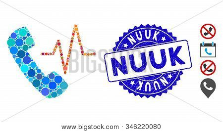 Mosaic Telephony Icon And Distressed Stamp Watermark With Nuuk Text. Mosaic Vector Is Created With T