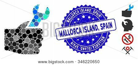 Mosaic Service Hand Icon And Rubber Stamp Seal With Mallorca Island, Spain Phrase. Mosaic Vector Is
