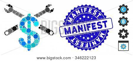 Mosaic Service Price Icon And Rubber Stamp Seal With Manifest Phrase. Mosaic Vector Is Composed With