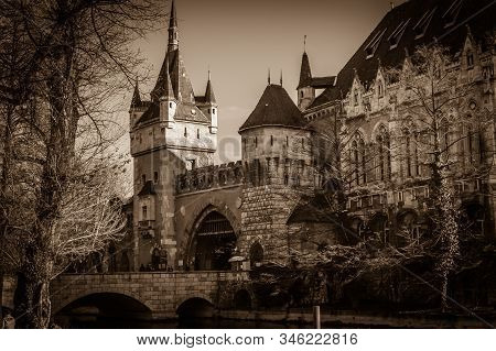 Budapest, Hungary - January 1, 2020: Dark View Of Vajdahunyad Castle, One Of The Romantic Castles In